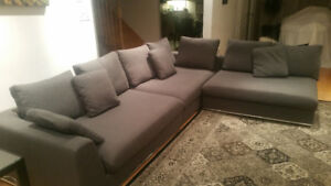 BEAUTIFUL COMFORTABLE SECTIONAL GREY SOFA COUCHES  - BARELY USED