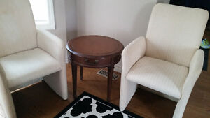 Two tub chairs and end table