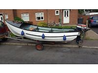 17 ft pebble open fishing boat and yamaha outboard offshore or pike boat for sale
