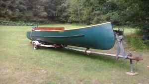 22 foot Norwest cedar strip freighter canoe