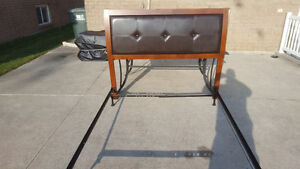Queen size bed brown leather headbord with metal frame Windsor Region Ontario image 1