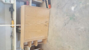 arborite and wooden cabinet