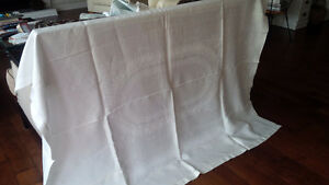 Vintage Linen Champagne Coloured Tablecloth