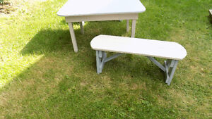 CHILD'S TABLE AND TWO BENCHES.