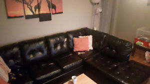 Leather durablend sectional couch