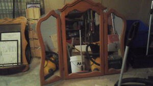 Maple Colonial Wing Mirror for double or triple dresser