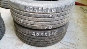 Pair of 2 Michelin Defender 205/55R16 tires (60% tread life)