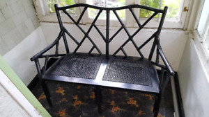 Chinese Wicker and Bamboo Settee