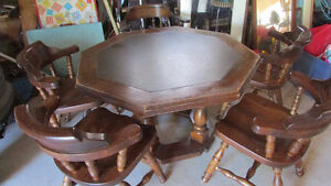 Solid Octagonal Poker Table with leather surface + chairs