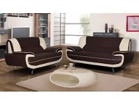 NEW YEAR SALE == BRAND NEW CAROL 3+2 SEATER LEATHER SOFA*** IN BLACK RED WHITE AND BROWN COLOR