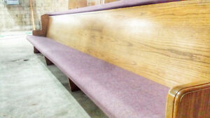 Used Church / Chair / Pew / Bench / Flat Wood Back/ Padded Seat