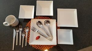 Contemporary White Square Dishes with Optional Silverware