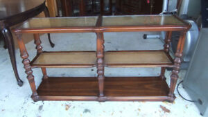 mid century solid wood long console table