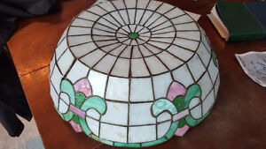 antique stained leaded glass light shade