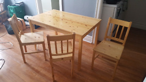 Ikea Pine Kitchen Table and Three Chairs