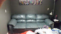 Beautiful Blue Leather Full Size Couch