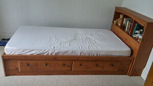 Captain's bed with bookshelf & white captain bed