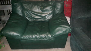 green Italian leather chair