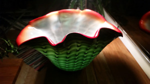 Large Clam Shell Shaped Blown Glass Vase  Greens w Red Accents