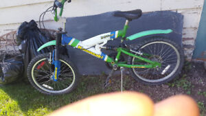 Kids  bike has shocks