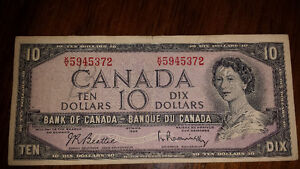 1954 $10 bill. good condition Cornwall Ontario image 1