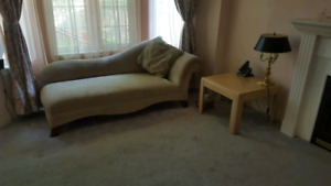 Chaise, coffee and side tables