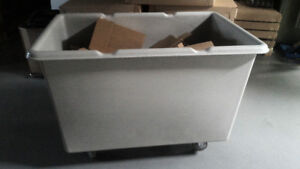 Plastic storage box on wheels