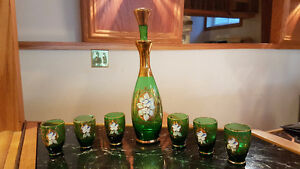 Vintage Murano Venetian Glass Emerald Green 24KGold Decanter Set