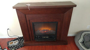Large wood framed electric fireplace
