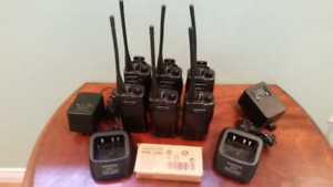 Six Kenwood UHF Portable Two Way Radios