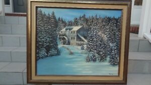 Art - painting of 'Water Mill in Winter'