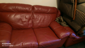Clearance red leather sofa seat for sale