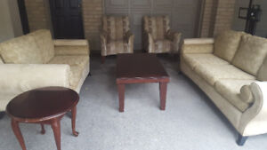 Fabric Couches + Matching Tables, only $225