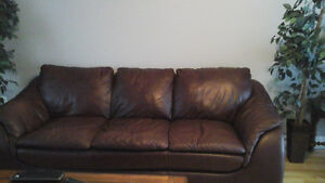 Italian leather couch  and  matching  love  sest