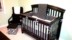 Like New Black and White Crib set- crib NOT included