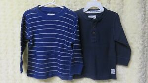 2 Boys Long Sleeve Top Blue/White Stripe & Navy Size 3 Years