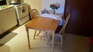 Solid Pine Kitchen Table & 2 Matching Chairs