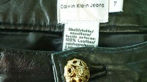 Calvin Klein leather jeans size 7
