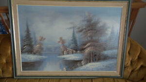 Winter Lake House Oil Painting