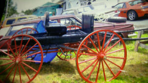 1900's horse wagon, mint condition leather and frame.