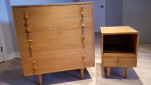 Wood Dresser and Bed side-table