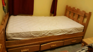 Solid oak twin size bed and dresser