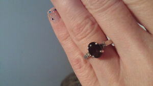 Smokey quartz and diamond ring