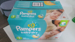 Pampers Baby Dry Diapers - 120 (Size 1, 8-14 lbs) + Bonus