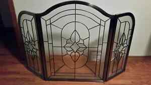 Beveled glass fire place guard