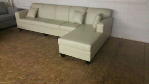 Brand New Ivory Leather Sectional, Made in Canada, $1000 OBO
