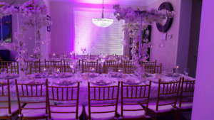 Chiavari chairs and event decor rentals