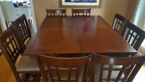 Mahogany Dining Table + 8 chairs + Free electrical fireplace