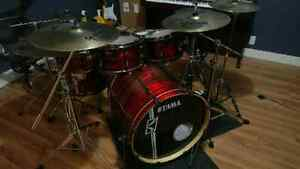 Tama hyperdrive with sabian XS20 cymbals.