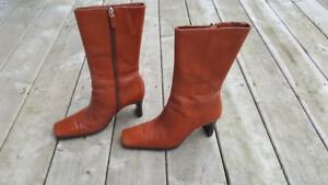 Mid-calf , light brown Leather boots, high heel
